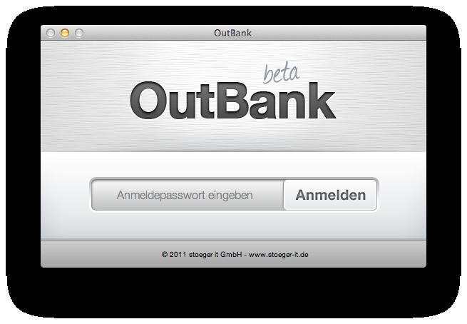 Anmeldefenster von OutBank