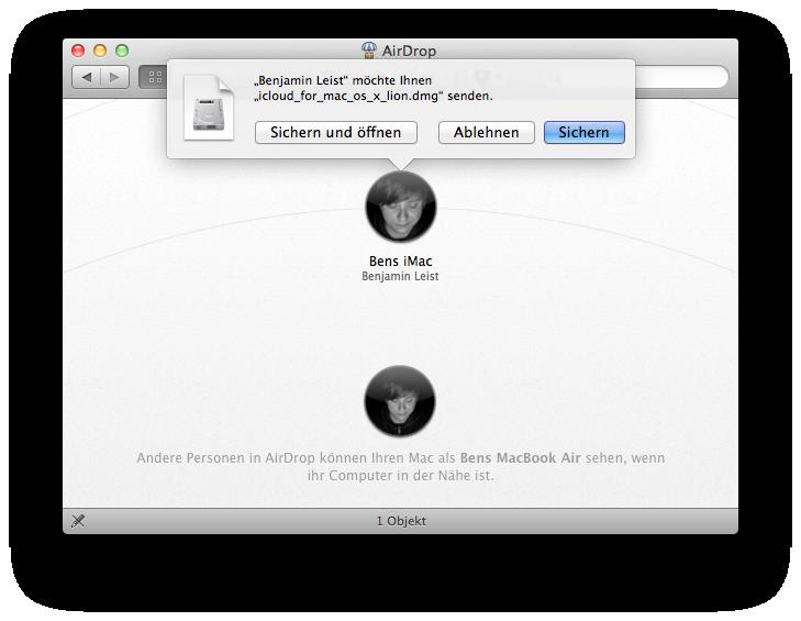 Dateiübertragung mit AirDrop