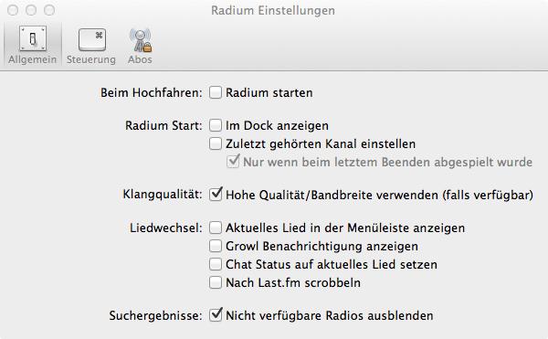Radium: Einstellungen