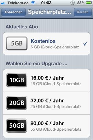 Speichererweiterungen in iCloud