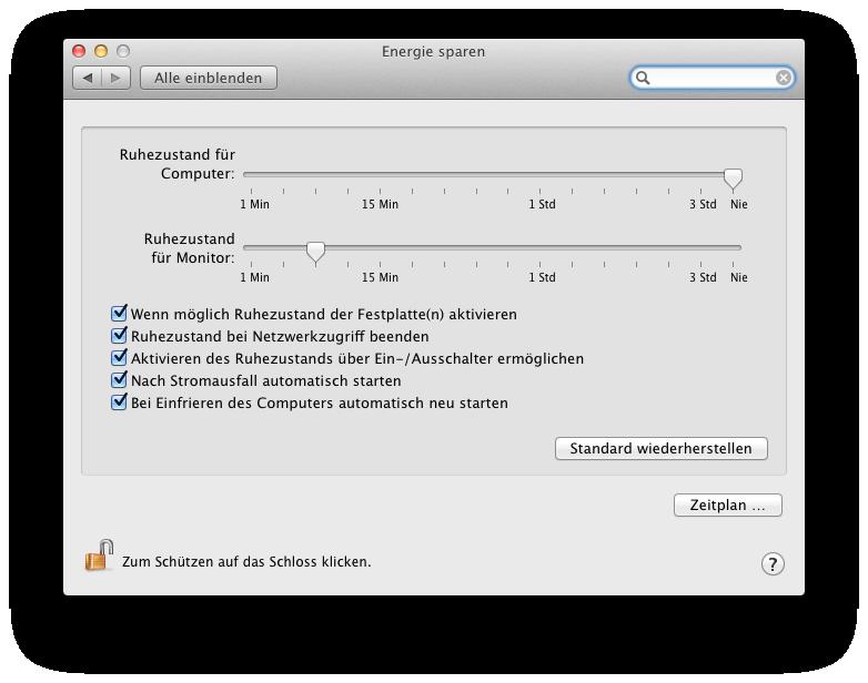 Energieeinstellungen Mac OS X