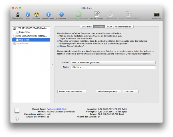 FileVault 2: USB-Stick formatieren