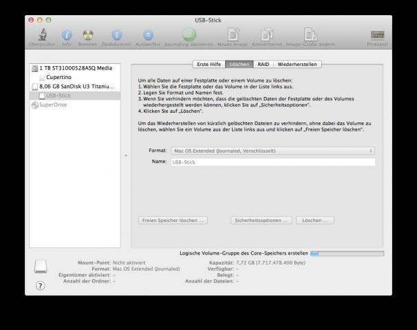 FileVault 2: USB-Stick formatieren