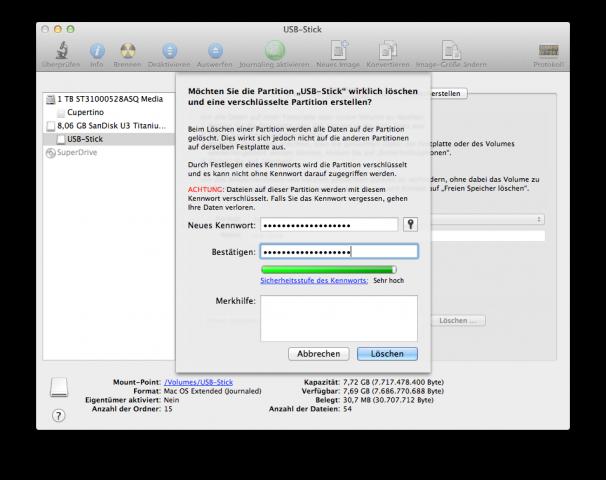 FileVault 2: USB-Stick verschlüsseln