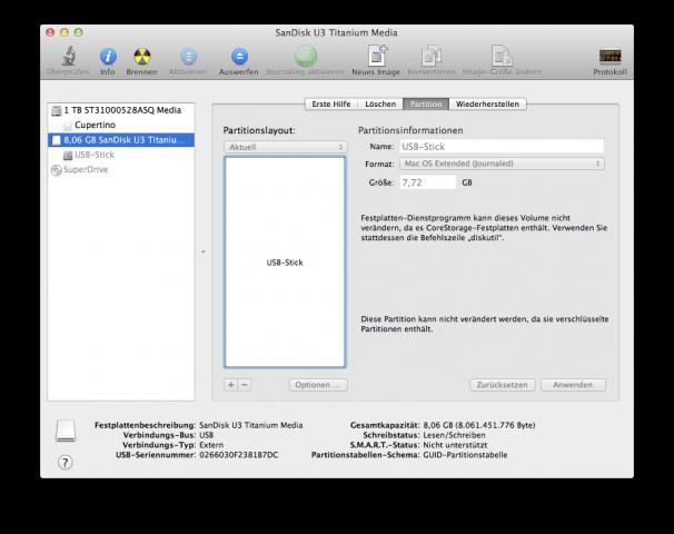 FileVault 2: Verschlüsseltes Volume