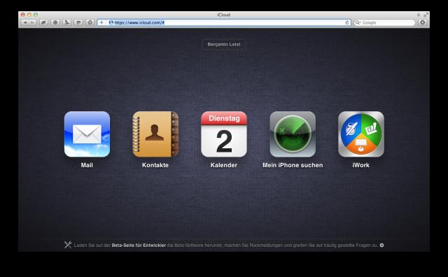 iCloud Webinterface