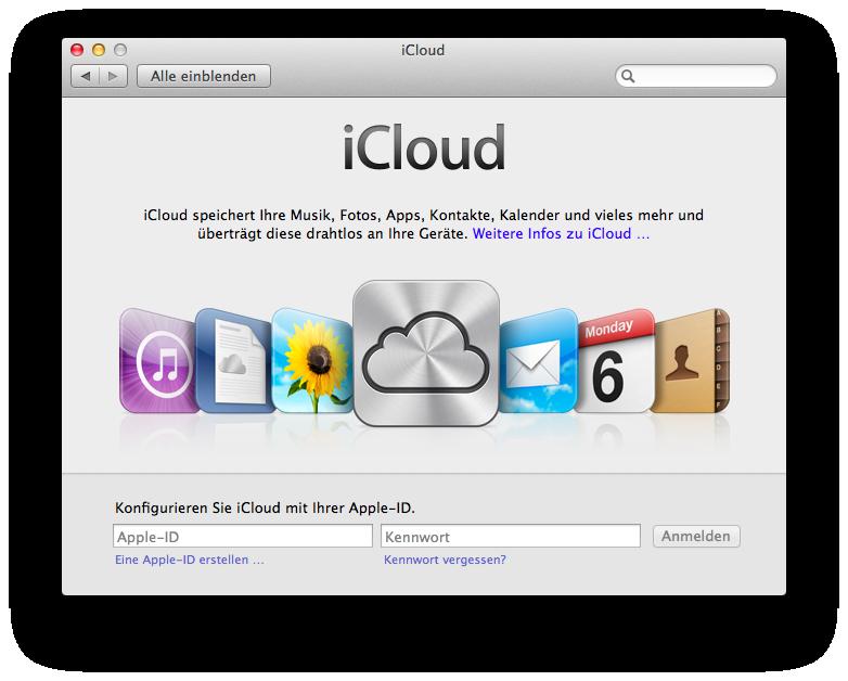 iCloud-Einrichtung unter Mac OS 10.7.2